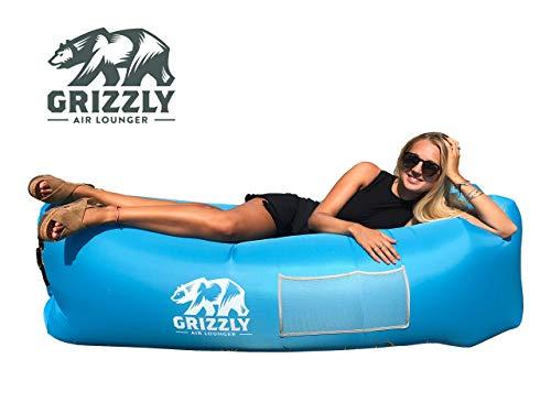 Grizzly Luftsofa Luftsack, Aufblasbarer Wasserdichter Air Lounger, Aufblasbare Liege, Aufblasbarer Sitzsack, aufblasbares Sofa Mit Tragebeutel, Air Lounge mit Integriertem Kissen Für Indoor, Outdoor