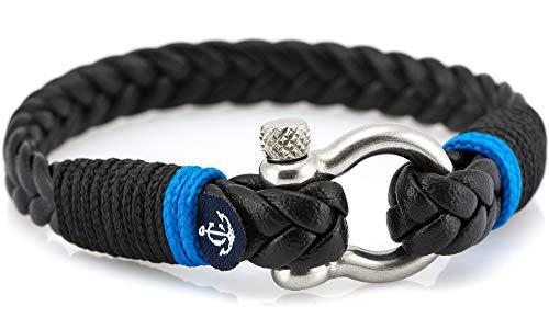 CONSTANTIN NAUTICS SAIL WITH US Maritimes Armband aus Leder, handgemacht, für Damen und Herren, mit Edelstahl Verschluss 4mm CNJ #10024 19cm