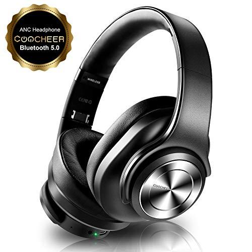 Bluetooth Active Noise Cancelling Kopfhörer, Wireless Headset Over Ear mit Mikrofon und Dual 40mm HD Sprecher, HiFi, Deep Bass, Typ-C Schnellladen, 30H Spielzeit, für Phone, PC, PS4 und TV