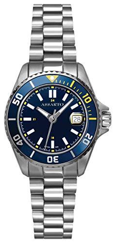 ASSARTOWatches ASD-9424W/B-BLU Seapearl-Series Damen Taucheruhr mit Schweizer Uhrwerk und Saphirglas, Damenuhr, Edelstahluhr, Quarzuhr, Sportuhr, Armbanduhr, Blaue Uhr