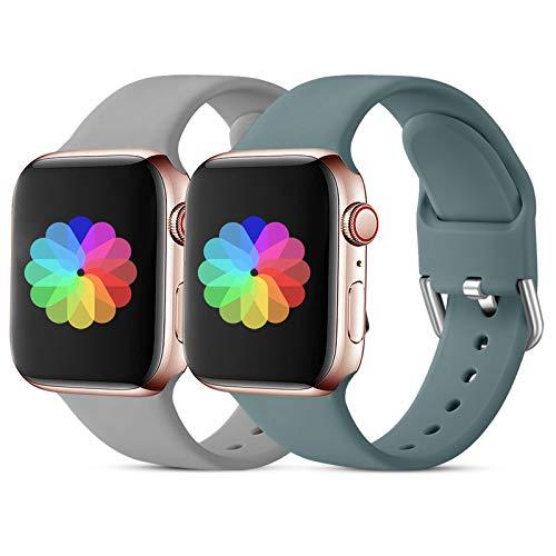 CeMiKa Sport Armband Kompatibel mit Apple Watch Armband 38mm 40mm 42mm 44mm, Ersatzarmband aus Silikonband Kompatibel mit Apple Watch SE/iWatch Series 6 5 4 3 2 1, 42mm/44mm-S/M Grau/Kieferngrün