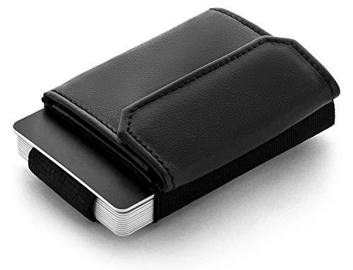 JAIMIE JACOBS Minimalist Wallet Nano Boy Pocket Mini Geldbörse aus Textil mit Zugband schmaler Kartenhalter für Herren und Damen (Schwarz)