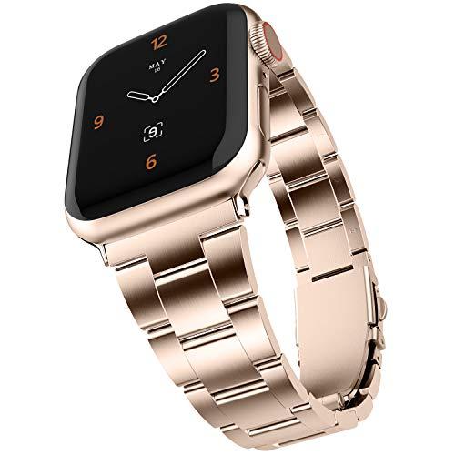 Adepoy WASPO für Apple Watch Armband, Verbesserte Edelstahl Metall Ersatz Armband Kein Werkzeug Erforderlich für iWatch 44mm 38mm 42mm 40mm Apple Watch 6 5 4 3 2 1