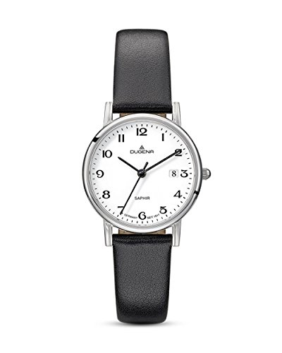 Dugena Damen Quarz-Armbanduhr, Saphirglas, Lederarmband, Zenit, Schwarz/Silber, 4460728