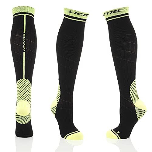 Licorne Kompressions-Thrombose-Stütz-Strümpfe Damen und Herren Compression Socks für Sport Flug Laufen Reisen Verbesserung der Durchblutung (39-42, Schwarz-Lime)