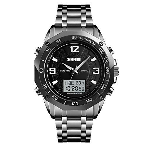 FeiWen Herren Fashion Digital Uhren LED Elektronik Analog Quarz Doppel Zeit Sportuhr Alarm Datum Outdoor Sportuhr Multifunktional Edelstahl Armbanduhr (Silber)
