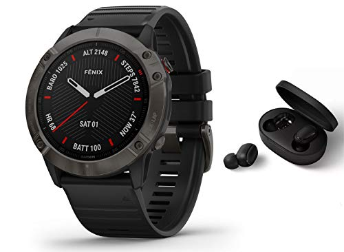 Garmin Fenix 6X Pro Saphir/Sapphire - GPS Multisportuhr - schwarz inkl. Bluetooth Headset