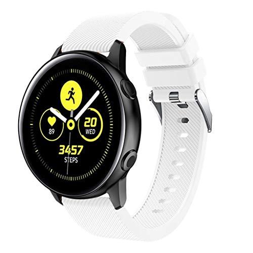 Uhrenarmband für Samsung Galaxy Watch Active Armbänder Kleine Silikon Ersatzband Handschlaufe Uhrenarmband Handgelenksriemen Einstellbar Ersatzband Watch Band Replacement Wriststraps (Weiß)