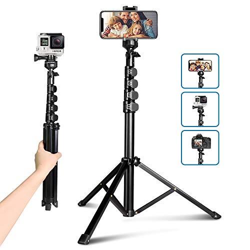 62' Selfie Trépied, UBeesize Kamera & Handy-Stativ-Ständer mit Bluetooth-Fernbedienung und Universal-Stativkopf-Halterung, perfekt für Selfies/Videoaufnahmen/Vlogging/Live-Streaming