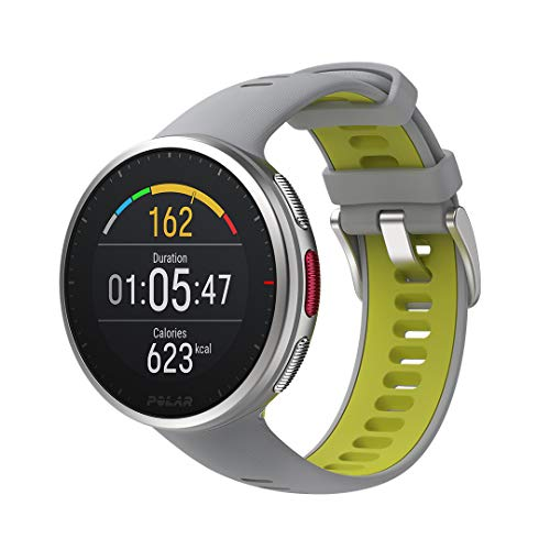 Polar Vantage V2 – Premium Multisportuhr GPS Smartwatch – Pulsmessung am Handgelenk für Laufen, Schwimmen, Radfahren – Musiksteuerung, Wettervorhersage, Smart Notifications, hellgrau-limette, M-L