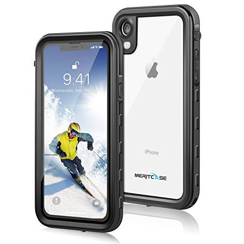 meritcase iPhone XR Hülle, 360 Grad Handyhülle IP68 Wasserdicht Stoßfest Staubdicht Schneefest Ultradünn Leicht Outdoor Unterwassergehäuse Schutzhülle 6.1 Zoll für iPhone XR (Schwarz)