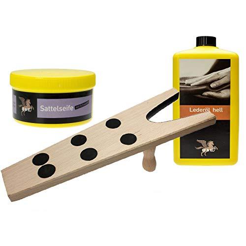 Bense & Eicke Sattelseife Lederöl Langlauf Reitbedarf Sattelpflege Schuhpflege Set mit Stiefelknecht + B & E Lederöl und Lederseife Sattelseife