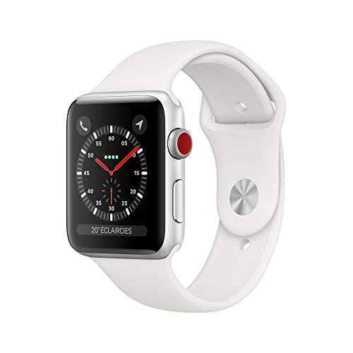Apple Watch Series 3 (GPS + Cellular, 42mm) Aluminiumgehäuse Silber - Sportarmband Weiß