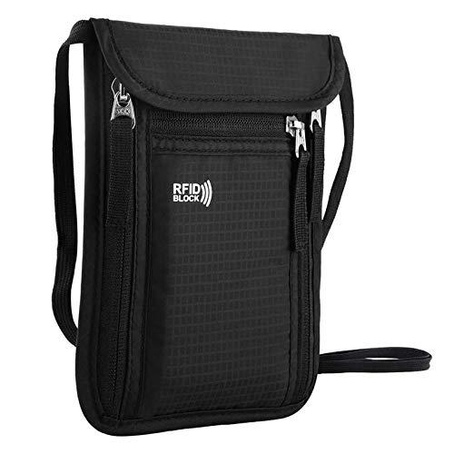 KEAFOLS Brustbeutel Brusttasche Reisegeldbeutel mit RFID-Schutz wasserdicht Umhängebeutel Tasche maximale Sicherheit für Smartphone und Reise Dokumente