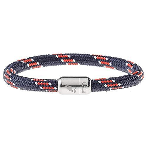 Wind Passion Armband Segeltau Rot Maritim Paracord mit Edelstahl Magnetverschluss für Männer und Frauen, Größe Medium