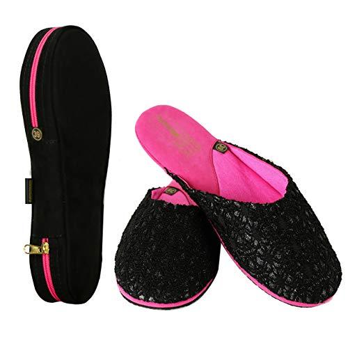 miomido Reisehausschuhe im Etui, Hausschuhe Damen Mädchen, Gästehausschuhe, Faltbare Hauschuhe – ideal für die Handtasche – perfekt als Reiseschlappen geeignet für Flug Hotel Auto Pantoffeln (38 EU)