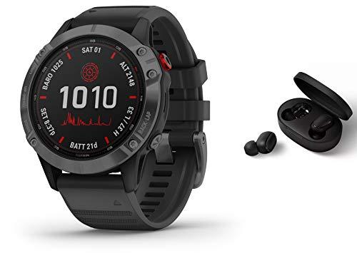 Garmin Fenix 6 Pro Solar Power Glass 010-02410-15 - GPS Multisportuhr - schiefergrau/schwarzes Armband inkl. Bluetooth Headset