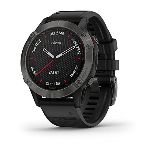 Garmin Fenix GPS-Uhr, 6 Sapphire, Multisport, Carbon-Grau mit schwarzem Band