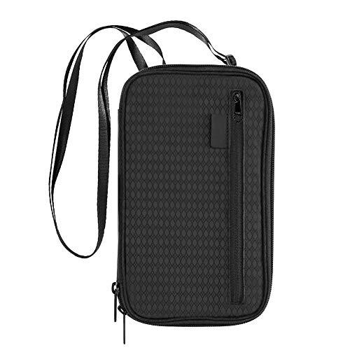 Coquimbo Reisepass Tasche, wasserdichte Reisepasshülle Brieftasche Reiseorganizer Dokumententasche RFID-Blocker mit Schulterriemen für Frauen/Männer Schwarz