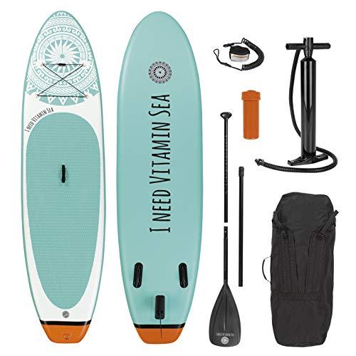 EASYmaxx Stand-Up Paddle-Board 'I Need Vitamin sea' oder 'My Private Beach'   Inkl. Tragetasche, Reparatur-Kit & Luftpumpe, mit praktischem Tragegriff   Premium Qualität (300 cm I Need Vitamin SEA)
