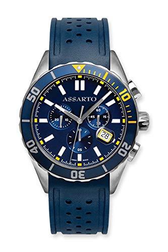 ASSARTOWatches ASH-9824RU-BLU Seapearl-Series Chronograph mit Schweizer Uhrwerk und Saphirglas, Taucheruhr, Blaue Uhr, Armbanduhr, Herrenuhr, Sportuhr, Damenuhr, Quarzuhr