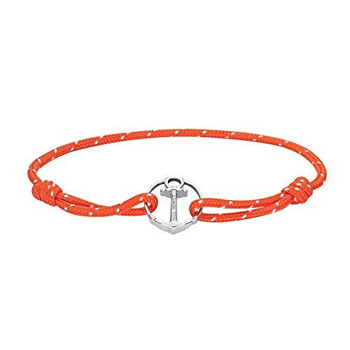 PAUL HEWITT Anker Armband Damen und Herren ReBrace - Segeltau Armband Unisex (Orange), Armband mit Anker Schmuck aus Edelstahl (Silber)
