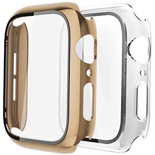 Fengyiyuda Hülle Kompatibel mit Apple Watch 38/42/40/44mm mit Anti-Kratzen TPU Panzerglas Displayschutz Schutzfolie,360°Schutzhülle für iWatch Series 6/5/4/3/2/1/SE,2 Stück,Light Gold/Clear,40mm