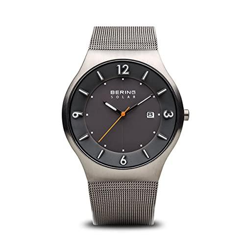BERING Herren Analog Solar Collection Armbanduhr mit Edelstahl Armband und Saphirglas 14440-077
