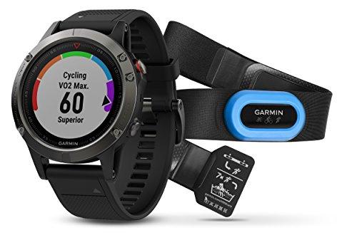 Garmin Fenix 5 Tragbarer Performer Bundle/Premium HRM-Run Brustgurt grau/schwarz 2017 Fahrradcomputer mit Herzfrequenzmesser
