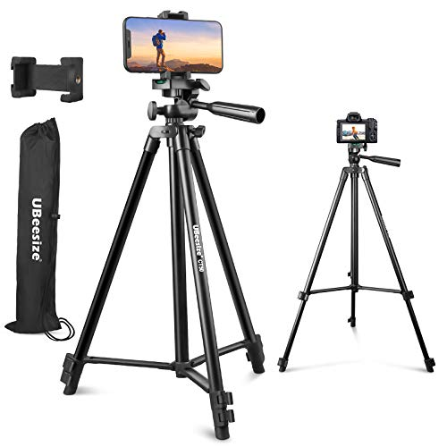 UBeesize 50' Telefon-Stativ-Ständer, Aluminium-Leichtgewicht-Stativ für Kamera und Telefon, Handy-Stativ mit Telefon-Halter und Tragetasche, kompatibel mit iPhone & Android