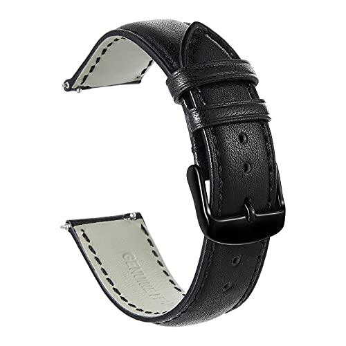 Uhrenarmband 20mm Leder-Quick Fit Armband für Samsung Galaxy Watch Active 2 40mm 44mm-Schwarz Metall Schnalle-Ersatzgurt für Herren Damen-Schwarz Armband