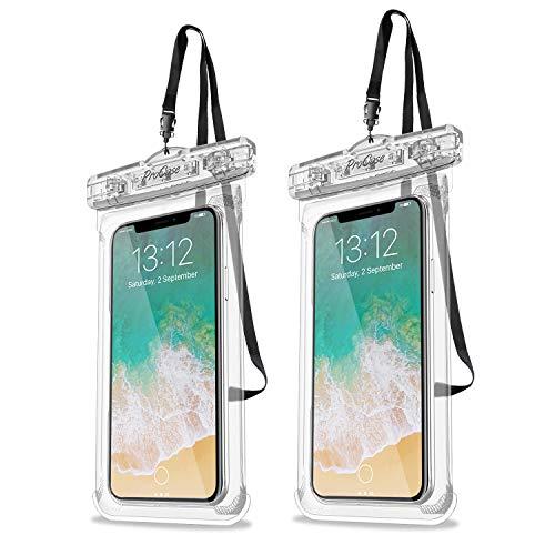 ProCase 2 Stück wasserdichte Uni Handyhülle (Waterproof Phone Case) bis 6.9' Unterwasser Handytasche für iPhone 12/11 Pro Max Samsung Galaxy S21/S20/A51/A12 und weiteren Smartphones -Klar
