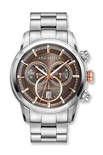 ASSARTO Watches ASH-9830TR/B-BRN Herren Chronograph mit Schweizer Uhrwerk und Saphirglas, Edelstahluhr, Luxusuhr, Armbanduhr, Uhren Herren, Sportuhr, Quarzuhr, Uhr