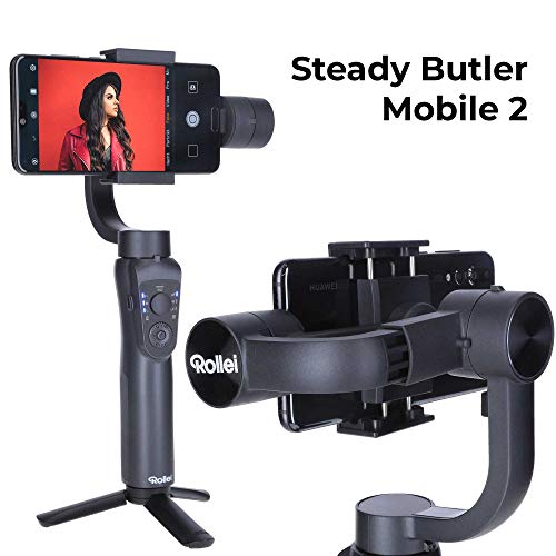 Rollei Steady Butler Mobile 2 Smartphone-Gimbal I Timelapse, Object-Tracking, Hochformat und Zoom Funktion I Handy Gimbal für iPhone und Android
