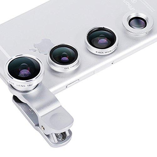 Evershop 4 in 1 Handy Objektiv Set, Universal Smartphone Linse Kamera Objektiv Lense mit CPL Objektiv-Klage Makro Weitwinkel Objektiv für iPhone Samsung Huawei HTC LG Laptop iPad und Anderes