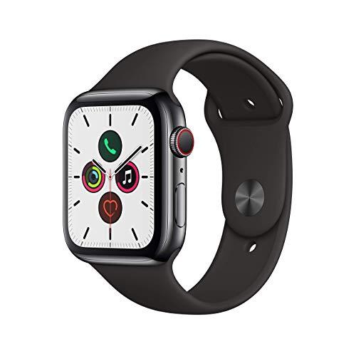 Apple Watch Series 5 44mm (GPS + Cellular) - Edelstahlgehäuse Space Grau Schwarz Sportarmband (Generalüberholt)