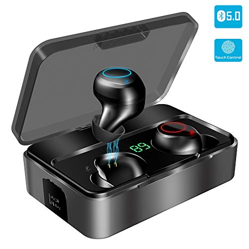 Bluetooth Kopfhörer in Ear, YONMIG Kabellos Bluetooth 5.0 Headset mit 3000mAh Ladebox Wireless Noise Cancelling Earbuds 150H Stunden Spielzeit Sport Wasserdicht IPX7 Ohrhörer mit Mikrofon (Schwarz)