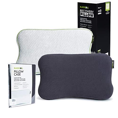 BLACKROLL® Recovery Pillow im Set mit zusätzlichem Bezug in anthrazit – orthopädisches HWS Kissen mit Kopfkuhle (Nackenstützkissen) aus Viscose Memory Schaum - Made in Germany
