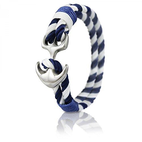 Skipper Anker-Armband mit Silbernem Edelstahl Anker für Damen und Herren - Blau/Weiß 7036