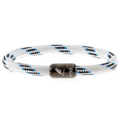 Wind Passion Armband Magnetverschluss Edelstahl Weiß Segeltau Paracord Maritim für Männer und Frauen, Größe X-Large