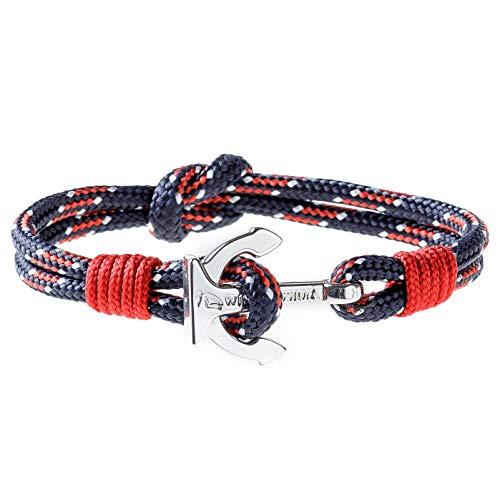 Wind Passion Premium Segeltau Maritim Rot Edelstahl Anker Armband für Männer Frauen, Größe XX-Large