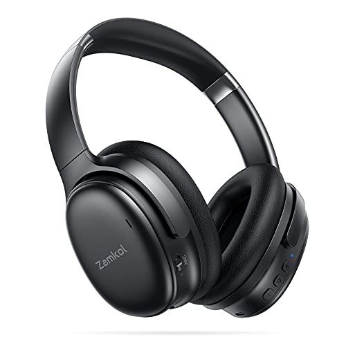 Zamkol Bluetooth Kopfhörer mit Noise Cancelling,Kabellos Headphones Over Ear mit 30h Akku,CVC 8.0 HD Mikrofon,Qualcomm QCC3005 Chip,Faltbar for Homeoffice,Reisen,Arbeit,Flugzeug,Gaming-Schwarz