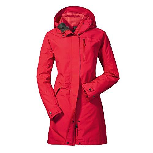 Schöffel Damen Parka Malmö1 wasserdichte Regenjacke für Frauen mit praktischen Taschen, modische und leichte Jacke für Frühling und Sommer, Lollipop, 38