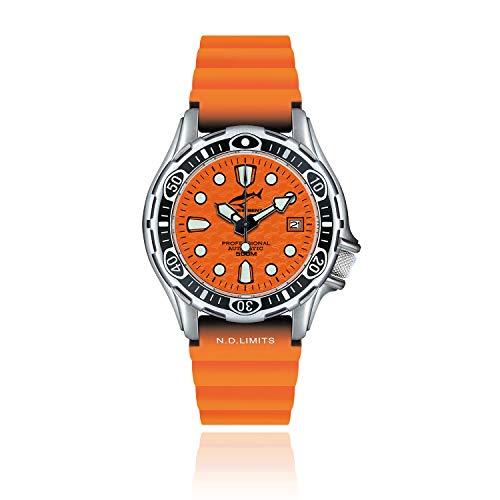 CHRIS BENZ DEEP 500M Automatic Taucheruhr mit orangenem Kautschukband, Korallenorange