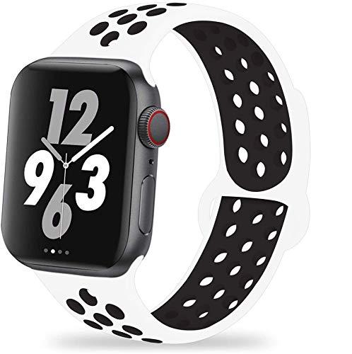 VIKATech Ersatz Armbänder Für Apple Watch Armband 44mm 42mm, Weiche Silikon Ersatz Armbänder für iWatch Armband Series 6/5/4/3/2/1, Sport, Edition, M/L, Weiß/Schwarz