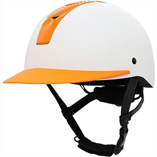 WFTD Reitbedarf Helm Für Kinder, Größenverstellbar, Sommer Ultraleichter, Atmungsaktiver Sicherheitshelm Für Pferdeausrüstung Mit Abnehmbarem Visier Für Reiten Im Freien, Reittraining,White orange,S