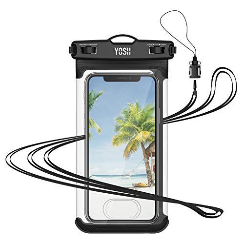 YOSH wasserdichte Handyhülle Beutel mit Touch ID bis zu 7.5 Zoll Wasserschutzhülle für iPhone 11 Pro/Pro Max/XS/XS Max/XR/X/8/7/6 für Samsung S9/S8/S7/S6/S5/A5 Huawei, LG, Xiaomi, mit Trageband