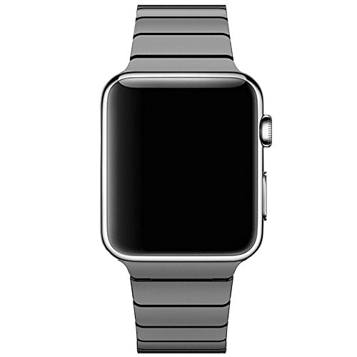 CoverKingz Edelstahl Armband ersetzt Apple Watch Series 6/SE/5/4/3/2/1 Band, Gliederarmband 42mm/44mm, Metall Band Schwarz
