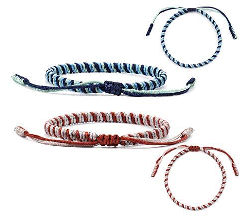 GUUTUUG Handmade Rope Lucky Tibetan Knots Armbänder Set Einstellbare Geflochtene Freundschaftsbänder für Männer Frauen Schmuck (2 Stücke)