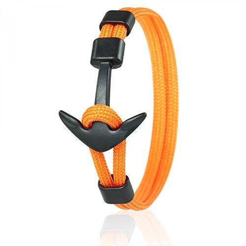 Skipper Anker-Armband mit Schwarzem Edelstahl Anker für Damen und Herren - Orange 6970